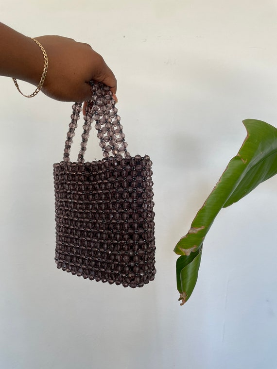 Vintage Clear Gray Beaded Mini Bag | Small Top Han