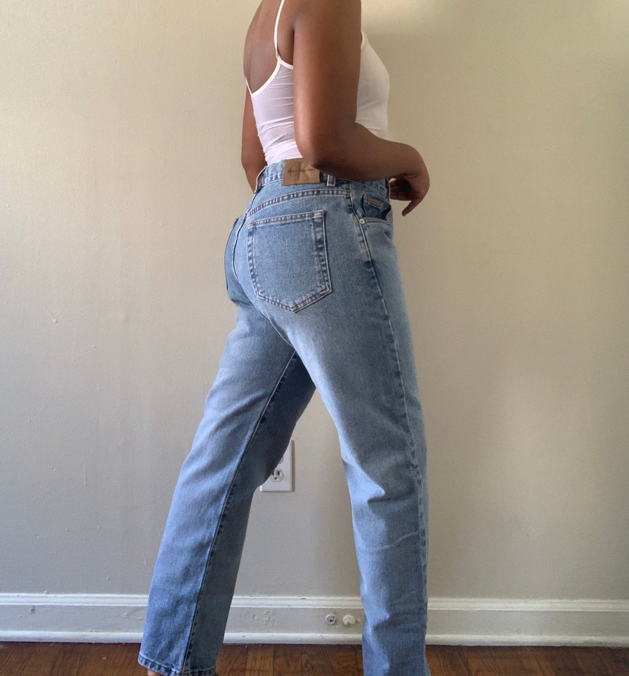 1990/'s CK Jeans  Cropped  Medium Wash  High Rise  Medium Rise