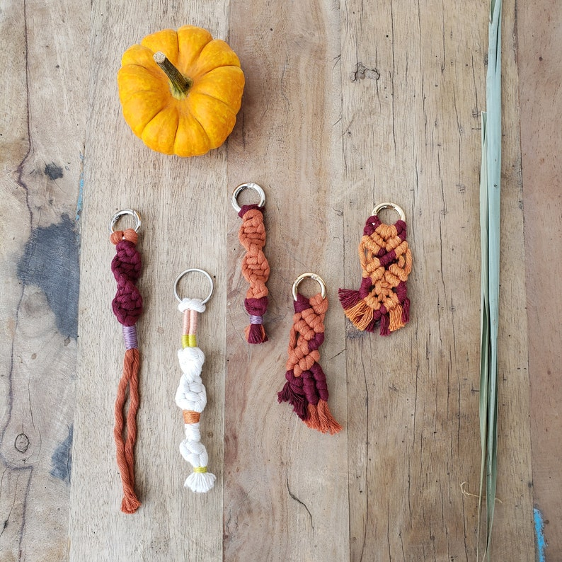 Pumpkin Spice Keychains  Seasonal Keychains  Macram\u00e9 Keychains  Knotted Bag accessory  Burgundy colored keychain  Ecofriendly keychains