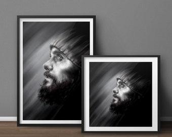 Jared Leto // Digital Portrait High Quality Print Kunstdruck Poster - Fanart Marsart Echelon
