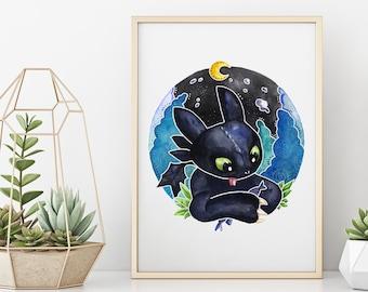 Baby Toothless Ohnezahn Drache Kinder Zeichnung Watercolor Portrait High Quality Print Kunstdruck Poster -  - How to Train Your Dragon