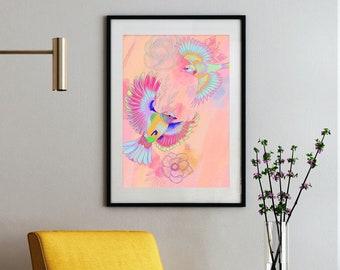 Pastel Neon Vögel Zeichnung Bunt High Quality Print Kunstdruck Poster