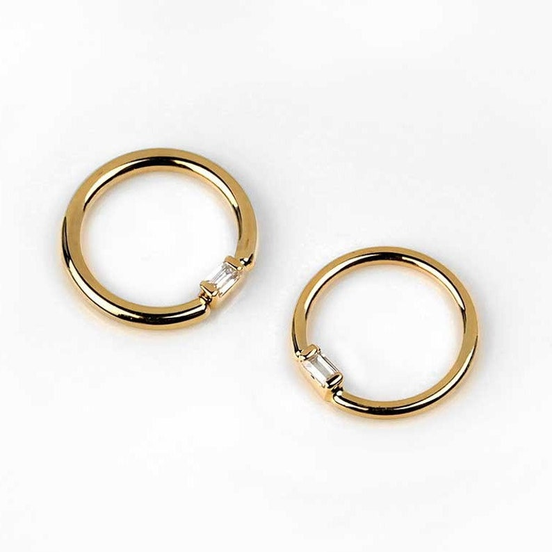 body jewelry . 14k Solid  Gold Fixed Baguette Seamless Ring with Clear CZ Nipple piercing