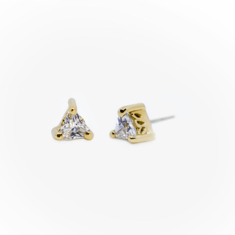25g Threadless pin 14K Solid Yellow Rose White Gold Beaded Triangle End CZ Set,Piercing 14g or 16g Internally Threaded pins Body Jewelry