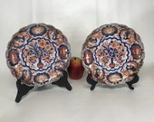 Pair of 19th Century Japanese Imari Porcelain Scalloped Rim Plates