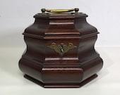 Colonial Williamsburg Mahogany Wood Brass Tea Caddy Box
