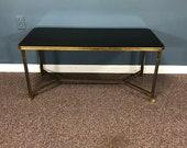 Quality Brass Chrome Mid Century Claw Foot Glass Walnut Coffee Table
