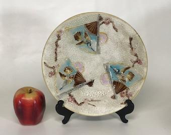 Antique Majolica Plate Japanese Motif Hummingbird and Fan