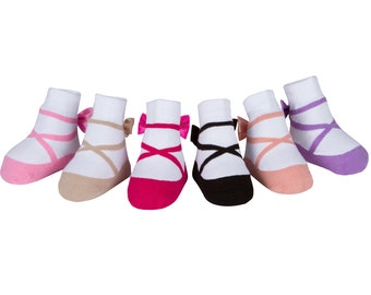 a54a8ca67 Baby Girl Socks that look like shoes - 3-12 Months - Anti slip-Soft Cotton  - 6 Pairs - Baby Shower Gift - Gift Pouch- BALLERINA