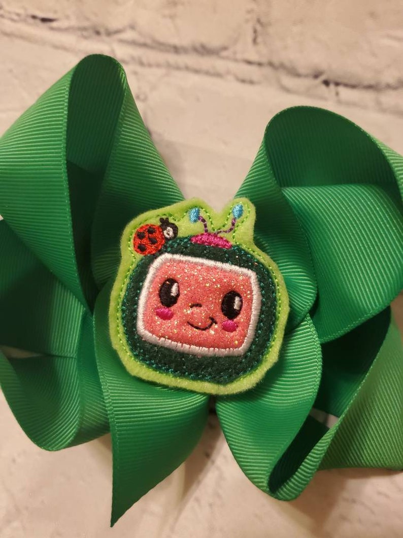 Cocomelon Baby or Girl Hair Bow Embroidered Alligator Clip 6 Birthday Party