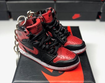 7e0219a635d AJ1 Bred 3D Keychain Banned Black Red Mini Sneaker 1/6 Scale