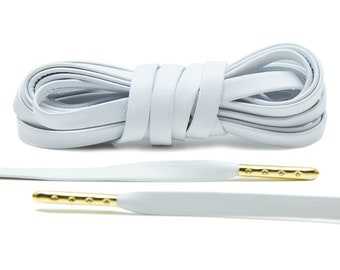 2b49007c9 Premium White Luxury Leather Laces with Gold Tips