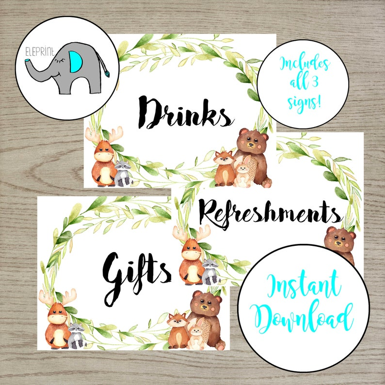 Woodland Animal Shower Table Signs