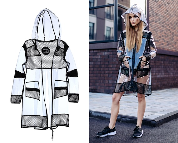 presenting on wholesale top-rated professional Clear vinyl raincoat, hooded waterproof rain jacket, women slicker, plastic  PVC trench coat, futuristic sci-fi urban clothing, SE3RnctPVC