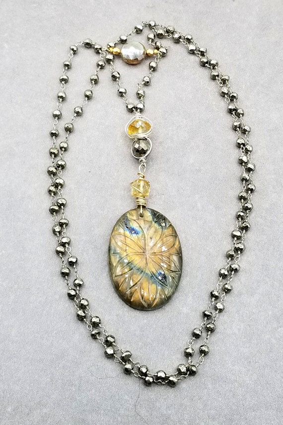 Smokey Quartz Pendant Necklace with Tiny Thai Silver and Labradorite Emerald Cut Smokey Quartz with Labradorite and Thai Silver Necklace