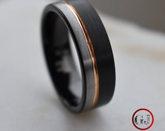 Tungsten Ring Black and Silver Brushed with Rose Gold Accent, Mens Ring, Mens Wedding Band