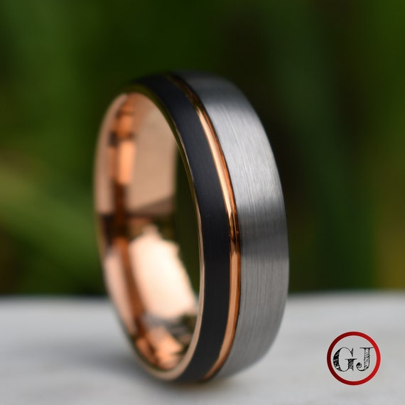 Domed Tungsten Ring Black And Silver Brushed With Rose Gold Etsy