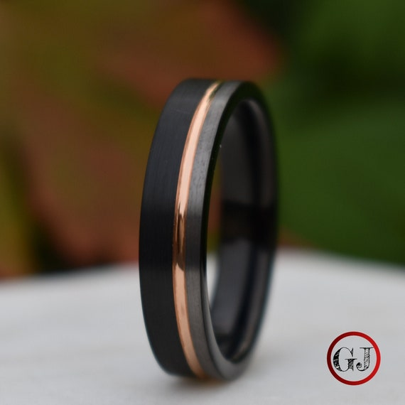 Tungsten 6mm Ring Black And Silver Brushed With Rose Gold Etsy