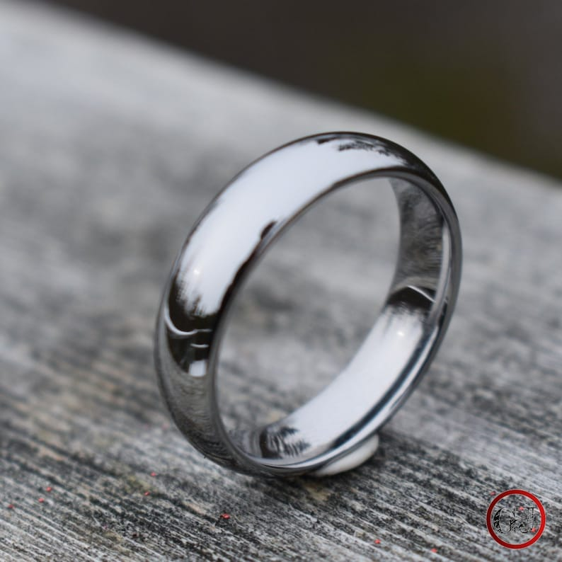 Tungsten Classic Silver Ring Mens Ring Mens Wedding Band image 1