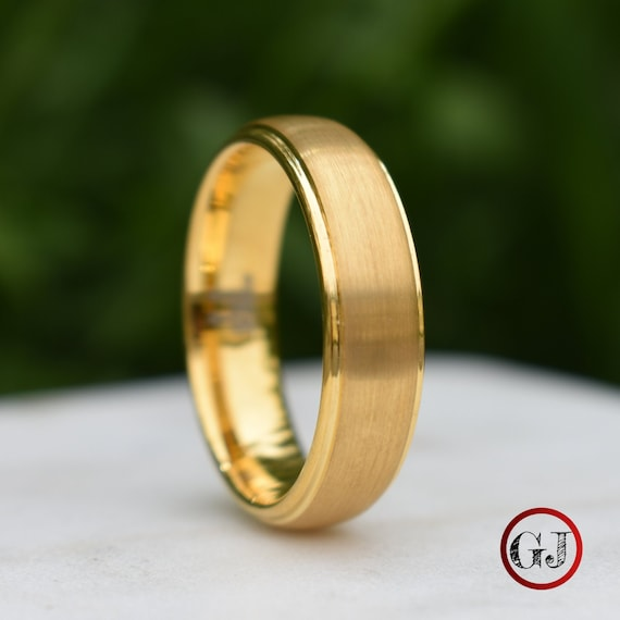 Tungsten Ring Gold Brushed Centre with a Stepped Edge, Mens Ring, Mens Wedding Band