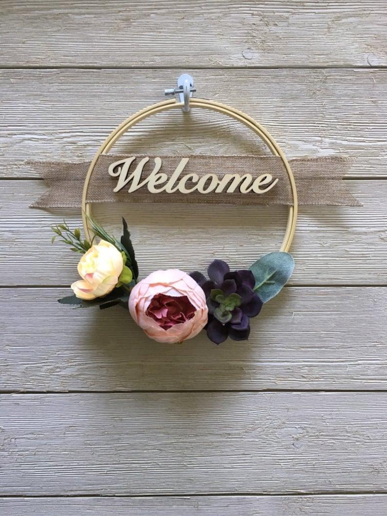 Welcome modern hoop wreathembroidery hoop wreath Mother/'s Day Wreath spring wreath summer wreath home decorfarmhouse decorfront door