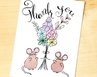 Thank you Mouse and Flowers Card