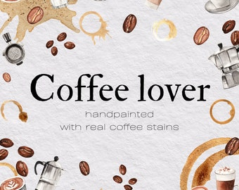 Coffee clip art, Coffee art, Coffee, Coffee watercolor, Coffee instant download, Coffee lover, Coffee love, Coffee design, coffee clipart