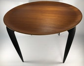 Pair of Mid Century Modern Fritz Hansen Folding Teak Tables Pair Black Base Signed - Denmark