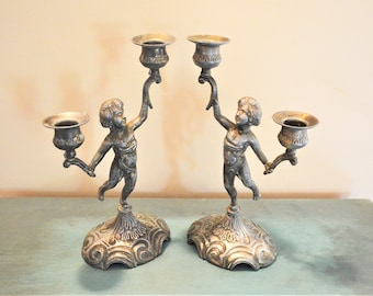 Vintage candlesticks Chateau style French Cherub Candlestick holders French country home