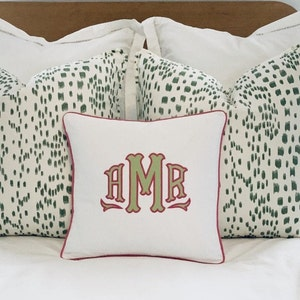 Embroidered Applique Pillow Cover-Personalized Pillow-Monogrammed Pillow