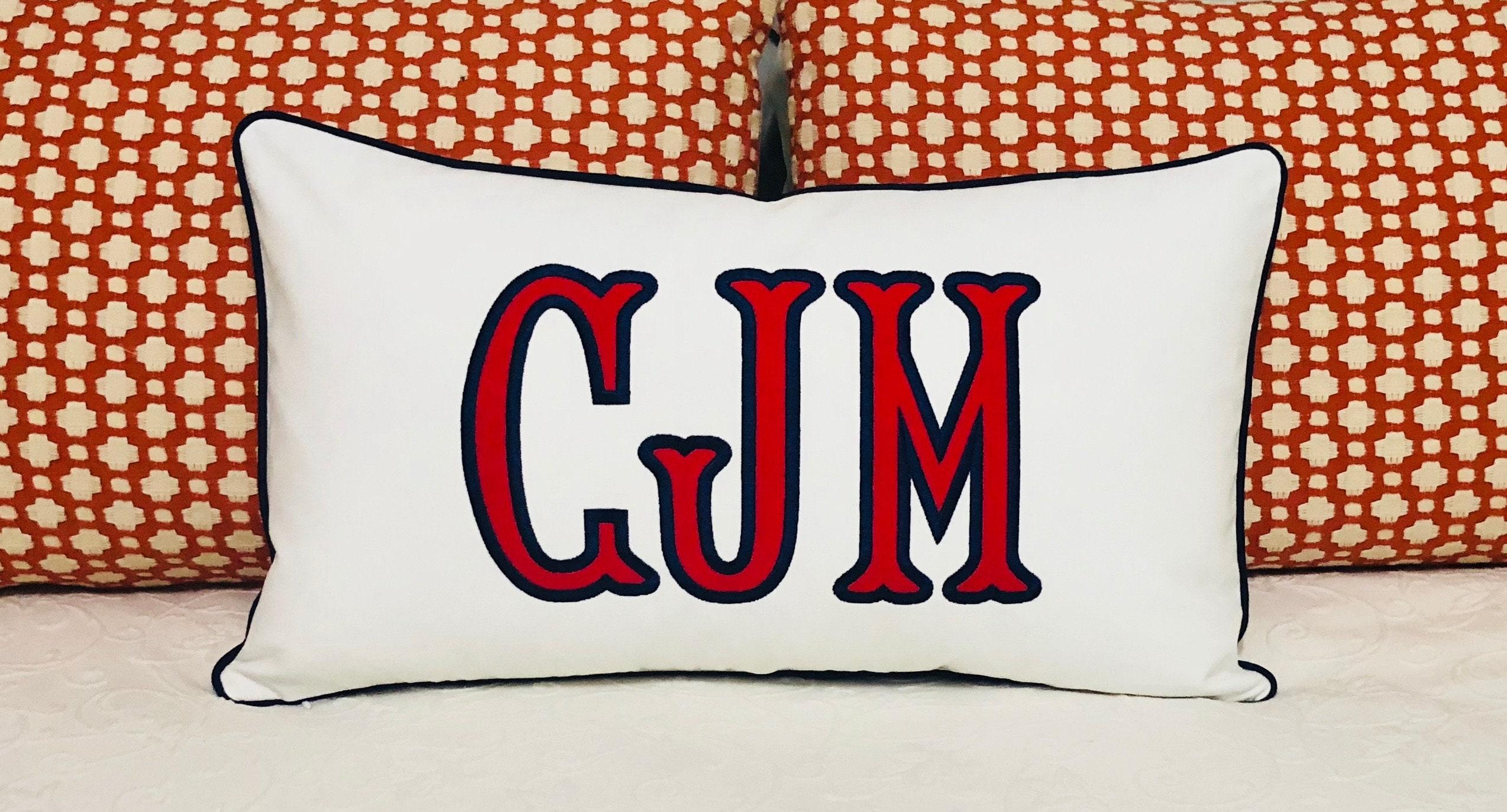 Monogram Applique Pillow Cover Large Monogram Etsy