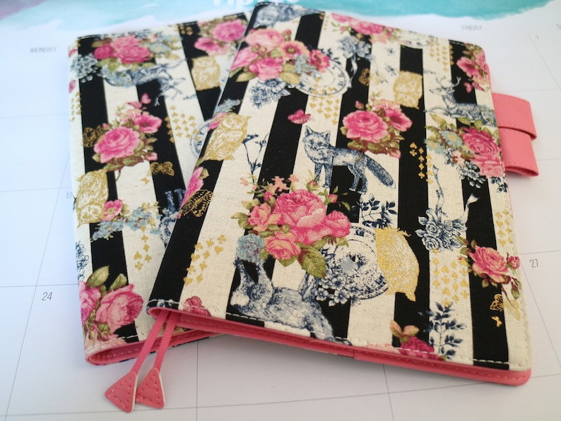 notebook protection Book Pouch,Fabric A5 size Journalhobopaperback Canvas bookCover,vintage floral flower