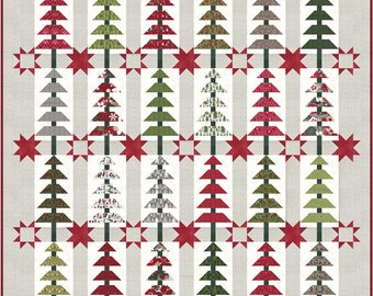 """BALSAM TREE Quilt Kit with Pattern using Hustle & Bustle by Basic Grey of Moda Fabrics - Finished size 76"""" x 82"""""""