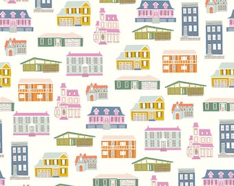 COMMUNITY by Citrus & Mint Designs of Riley Blake Designs - C11101 Houses Cream - 1/2 Yard Increments, Cut Continuously