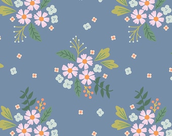 COMMUNITY by Citrus & Mint Designs of Riley Blake Designs - C11102 Floral Blue - 1/2 Yard Increments, Cut Continuously
