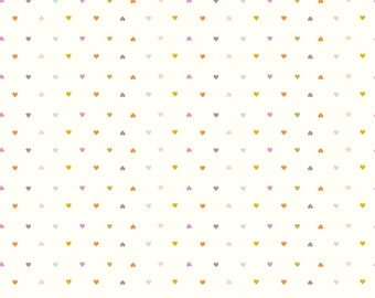 COMMUNITY by Citrus & Mint Designs of Riley Blake Designs - C11107 Hearts Cream - 1/2 Yard Increments, Cut Continuously