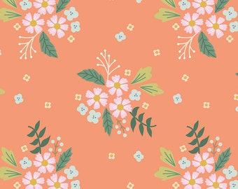 COMMUNITY by Citrus & Mint Designs of Riley Blake Designs - C11102 Floral Coral - 1/2 Yard Increments, Cut Continuously
