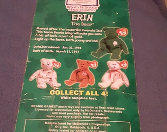 RARE International Vintage MINT condition ty Beanie Baby Erin The Bear - Ronald  McDonald House Charities collection with 1993 ERRORS! 42aaf4142c7a