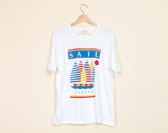 63a1ac0e Vintage Sail Cancun T Shirt - Men's Large   80s 90s Clothing, Men's T Shirt,  Graphic Tees, Women's Clothing