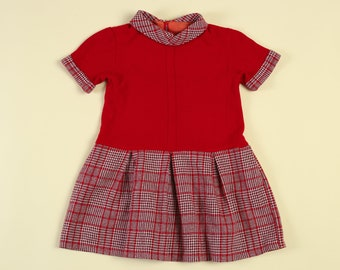 4204f59d8ef0c Vintage 60s Girl s Red Plaid Scooter Dress - Youth Small