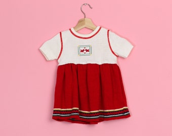 9469db38f7c8b 70s Scottie Dog Knit Baby Girl Dress - 24 Months