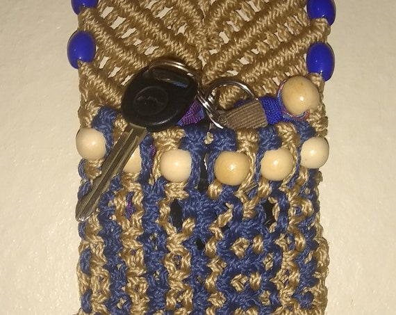 Remote Control Pouch, Cell Phone Pouch, Macrame Holder, Hand Crafted, Key Holder