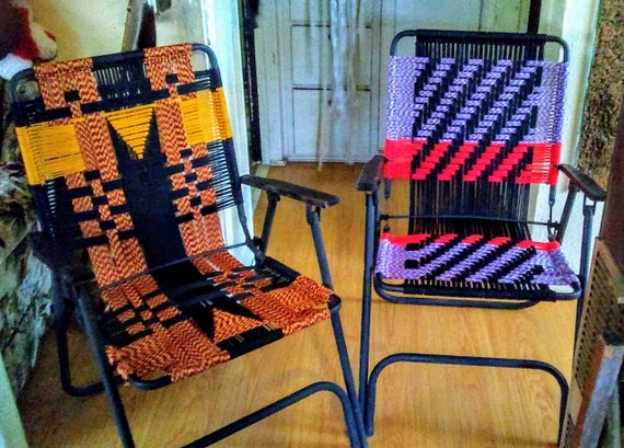 Chair Makeovers, Paracord Chairs, Lawn Chair Makeover, Macrame Folding Chairs, Outdoor Chairs, Hand Crafted Outdoor Chairs