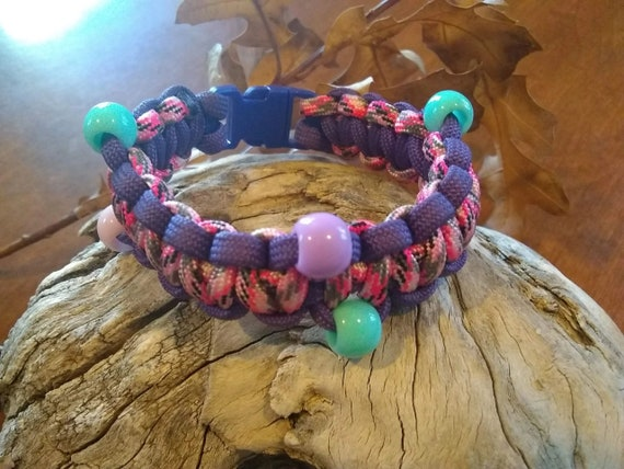 CLEARANCE, Purple Outline Pink Beaded Bracelet, Pony Beads, Party Favors, Easter Jewelry