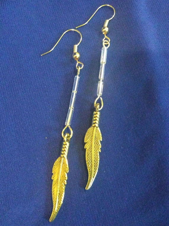 CLEARANCE, Elegant Gold Dangle Earrings, Hand Crafted, Ear Wires, Acrylic Beads Jewelry, Dangle Earring Gifts