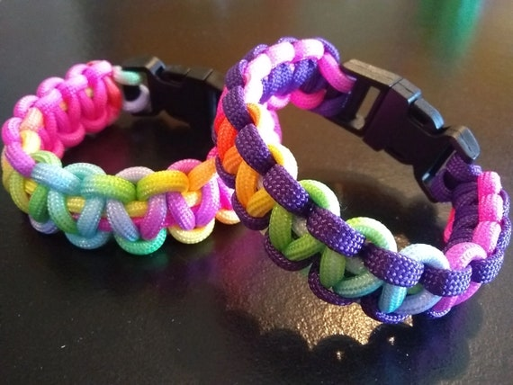 Rainbow Paracord Bracelet, Multi Colored Jewelry, Hand Crafted, Party Favor, Bracelet Gifts