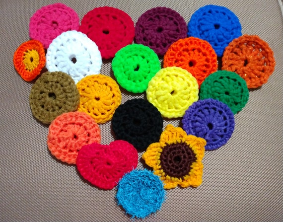 Hand Crafted Dish Scrubbies, Small, Medium, Large, Heart Shaped, Sunflower Scrubbies, Double Sided and Single Scrubbies