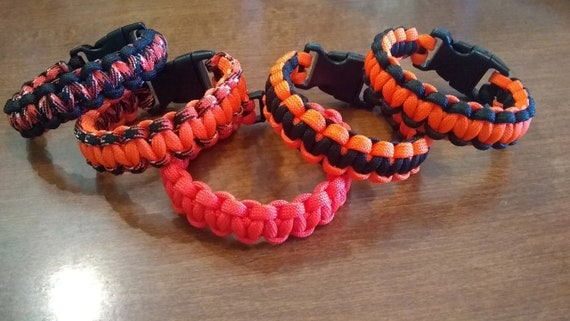 Orange and Black Bracelets, Paracord Bracelets, Fun Jewelry, Survival Jewelry, Paracord Gifts
