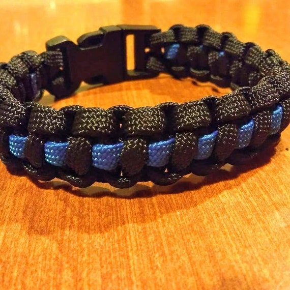 Thin Blue Line Bracelet, Police Support, Law Enforcement. K-9, Hand Crafted