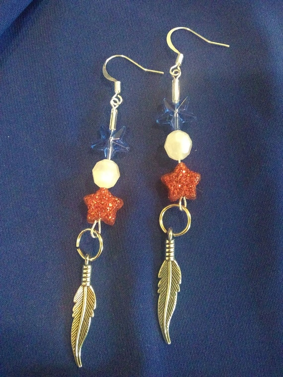 CLEARANCE, 3.5 Inch Red White & Blue Dangles, Hand Crafted, USA Support Jewelry, Freedom Jewelry
